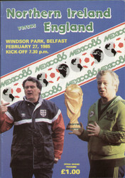 original Official programme for the World Cup qualifying match Northern Ireland V England, the game was played on 27 February 1985 at Windsor Park, Belfast.