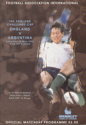 original Official programme for the England Challenge Cup match England V Argentina, the game was played on 25 May 1991 at Wembley.