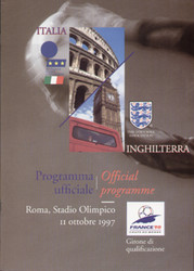 original Official programme for the World Cup qualifying match Italy V England, the game was played on 11 October 1997 at the Stadio Olimpico, Rome.