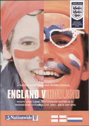 original Official programme for the friendly International match England V Holland, the game was played on 15 August 2001 at White Hart Lane.