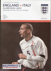 original Official programme for the friendly International Match England V Italy, the game was played on 27 March 2002 at Elland Road, Leeds.