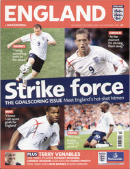 original Official programme for the Euro 2008 qualifier England V Macedonia, the game was played on 7 October 2006 at Old Trafford.