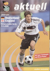 original Official programme for the match Germany V England, the game was played in Berlin on 19 November 2008.