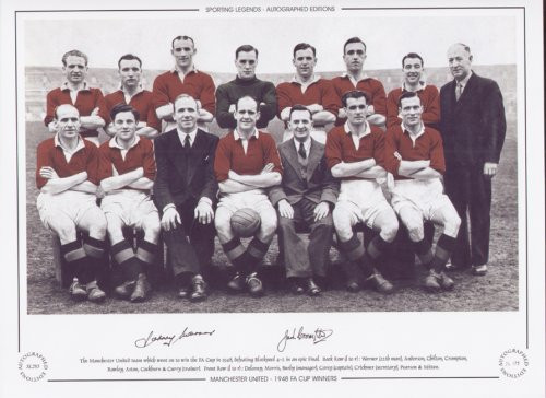 The Manchester United team which went on to win the FA Cup in 1948, defeating Blackpool 4-2 in an epic Final.