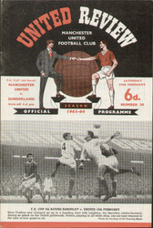 original Official programme for the FA Cup 6th Round match Manchester United V Sunderland played on 29 February 1964 at Old Trafford.