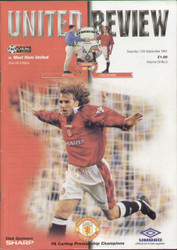 original Official programme for the Premier League match Manchester United V West ham United played on 13 September 1997 at Old Trafford.