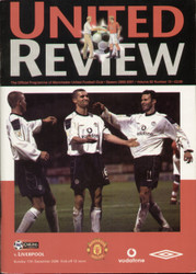 original Official programme for the Premier League match Manchester United V Liverpool played on 17 December 2000 at Old Trafford.