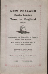 original Official programme for the New Zealand Rugby League tour of England 1926/27, the programme contains photographs and biographies of all the players.