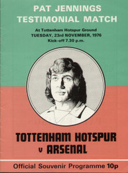 original programme for the Pat Jennings Testimonial, the match Tottenham Hotspur V Arsenal was played at White hart Lane on 23 November 1976.