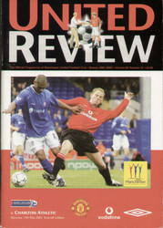 original Official programme for the Premier League match Manchester United V Charlton Athletic played on 10 April 2001 at Old Trafford.