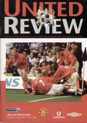 original Official programme for the Premier League match Manchester United V Bolton Wanderers played on 20 October 2001 at Old Trafford.