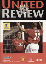 original Official programme for the Premier League match Manchester United V Liverpool played on 22 January 2002 at Old Trafford.