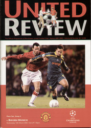 original Official programme for the Champions League match Manchester United V Bayern Munich played on 13 March 2002 at Old Trafford.