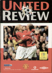 original Official programme for the Premier League match Manchester United V Arsenal played on 8 May 2002 at Old Trafford.