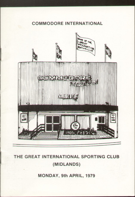 original boxing programme/menu for bouts held at The Great International Sporting Club (Midlands) 9 April 1979. The menu has been signed by Kirkland Laing and 2 unknown signatures.