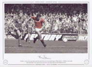 Manchester United captain Bryan Robson opens the scoring in the 1990 FA Cup semi-final against Oldham Athletic. A thrilling 3-3 draw ensued before Mark Robbins scored a dramatic extra-time winner in the replay.