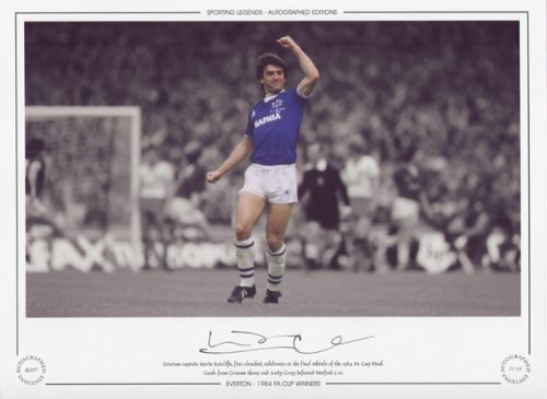 Everton captain Kevin Ratcliffe, fists clenched, celebrates at the final whistle of the 1984 FA Cup Final. Goals from Graeme Sharp and Andy Gray defeated Watford 2-0. Great addition to any collection.
