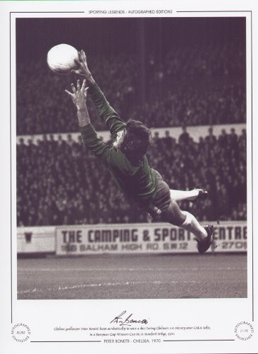 Chelsea goalkeeper Peter Bonetti leaps acrobatically to save a shot during Chelsea's 1-0 victory over CSKA Sofia, in a European Cup Winners Cup tie at Stamford Bridge, 1970.
