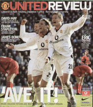 original Official programme for the Premier League match Manchester United V Arsenal played on 7 December 2002 at Old Trafford