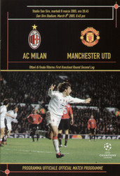 original Official programme for the Champions League match AC Milan V Manchester United played on 8 March 2005.