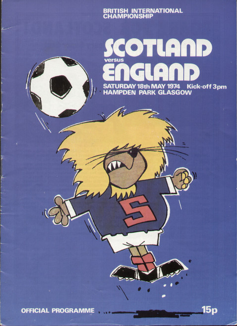 original Official programme for the international match Scotland V England played on 18 May 1974 at Hampden Park.