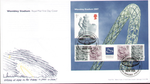 Royal Mail First Day Cover issed in 2007 to celebrate the opening of the new Wembley Stadium, cancelled Wembley 17 May 2007.