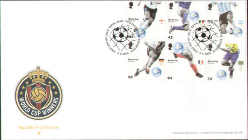 Royal Mail First Day Cover issed in 2006 to celebrate the 2006 World Cup, stamps show previous winners, cancelled Talents House 6 June 2006.
