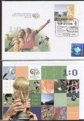official World Cup 2006 first day cover issued by the German Post Office to celebrate the 2006 World Cup. Cancelled in Berlin on the day of the Final (9 July 2006).