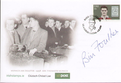 Rare 1958 Munich Air Disaster signed first day cover. These covers were issued in 2008 by the Irish Post Office to commemorate the 50th anniversary of the Munich Air Disaster. This cover has been hand signed by Manchester United legend and the air crash survivor Bill Foulkes.