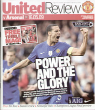 original Official programme for the Premier League match Manchester United V Arsenal played on 16 May 2009 at Old Trafford.
