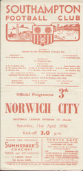 original Official programme for the Division 3 South game, Southampton V Norwich City was played on 21 April 1956 at The Dell. The programme has been signed internally by nine Norwich City players including Coxon, Hunt, Gordon, Bacon, Wilson, McGrohan and Oxford.