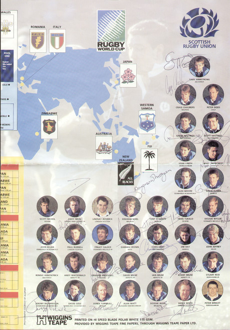 original Official 1991 Rugby world Cup Scotland wallchart. The wallchart includes the fixtures and pen pictures of the Scotland squad. the wallchart has been signed by 21 and includes the Hastings brothers, Jeffrey, Milne, Stanger etc.