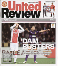 original Official programme for the Champions League match Manchester United V Ajax played on 23 February 2012 at Old Trafford.