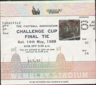 original Official 1988 FA Cup Final match ticket stubb from the game Liverpool V Wimbledon played at Wembley on 14 May 1988.