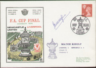original first day cover to celebrate the 1974 FA Cup Final Newcastle United V Liverpool, issued in May 1974. Complete with original filler card. The cover has been signed by Ian Callaghan and is one of 250 issued. Rare Dawn cover.