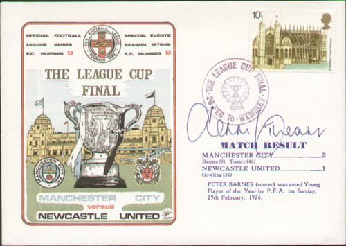 original first day cover to celebrate the 1976 League Cup Final Manchester City VNewcastle United, issued in February 1976.  The cover has been signed by Dennis Tueart and is one of 260 issued. Rare Dawn cover.