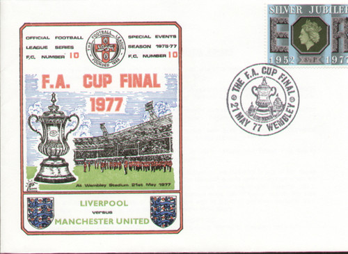 original first day cover to celebrate the 1977 FA Cup Final Manchester United V Liverpool, issued in May 1977. Complete with original filler card. Rare Dawn cover.