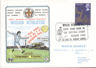original first day cover to celebrate Wigan Athletic's first ever home League Match. Issued August 1978. Complete with filler card.