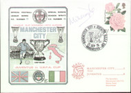 original first day cover to celebrate Manchester City in Europe, issued in September 1976. Complete with filler card. the cover has been signed by Man City Captain Mike Doyle and is one of 250 issed.