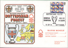 original first day cover for the European Cup game Nottingham Forest V Oesters Vaexjoe, Forest kick off as European Champions. Issued in September 1979. Complete with filler card.