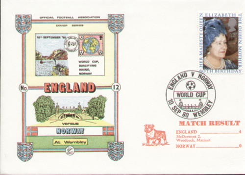 original first day cover to celebrate England's world Cup Qualifier V Norway, issued in September 1980. Complete with filler card.