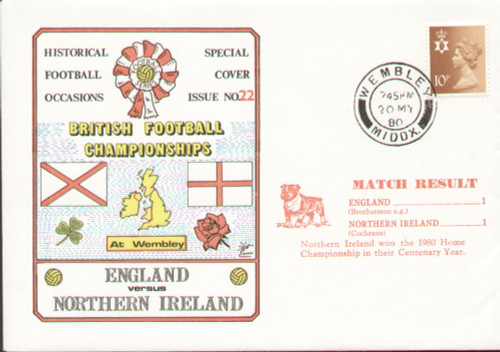 original first day cover to celebrate the British Championship Match England V Northern Ireland. Issued May 1980. Complete with filler card.
