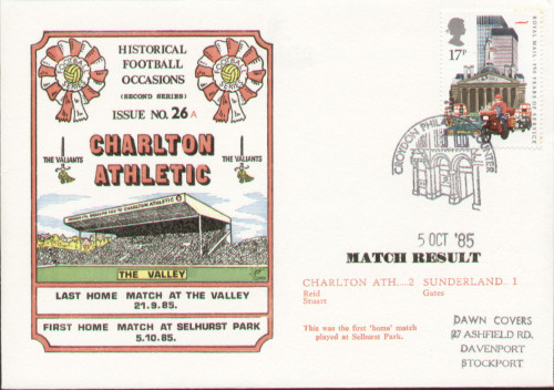 original first day cover to celebrate Charlton's first home game at Selhurst Park, issued in October 1985. Complete with filler card.