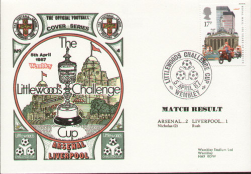 original first day cover to celebrate The League Cup Final 1987, Arsenal V Liverpool, issued in April 1987. Complete with filler card.