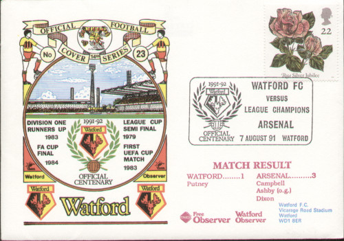 original first day cover to celebrate Watford's Centenary year 19991-92, issued in August 1991. Complete with filler card.