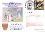original first day cover to celebrate Arsenal's Double, league champions and fa cup winners, issued in May 2002. Complete with filler card.