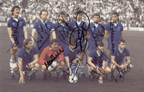 The Everton team prior to kick off in the European Cup Winners Cup Final, played at the Feijenoord Stadion, Rotterdam on 15 May 1985.  Goals from Andy Gray, Trevor Steven & Kevin Sheedy sealed a 3-1 win for the blues.