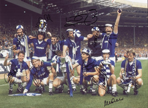 The victorious Everton team celebrate with the FA Cup after their 2-0 victory over Watford in the 1984 final.  Goals from Graeme Sharp and Andy Gray sealed the win for the blues.