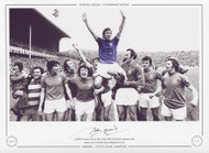 A jubilant Rangers Captain, John Greig is held aloft by his teammates after Rangers were crowned League Champions in 1975.