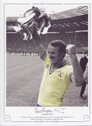 Southampton Captain Peter Rodrigues holds aloft the FA Cup after the second division club had beaten Manchester United thanks to a Bobby Stokes winner.